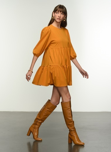 NGSTYLE Ngkaw21El0003 Balon Kollu Volanlı Elbise Sarı